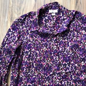 Coldwater Creek Purple Print Cotton Blouse 2x